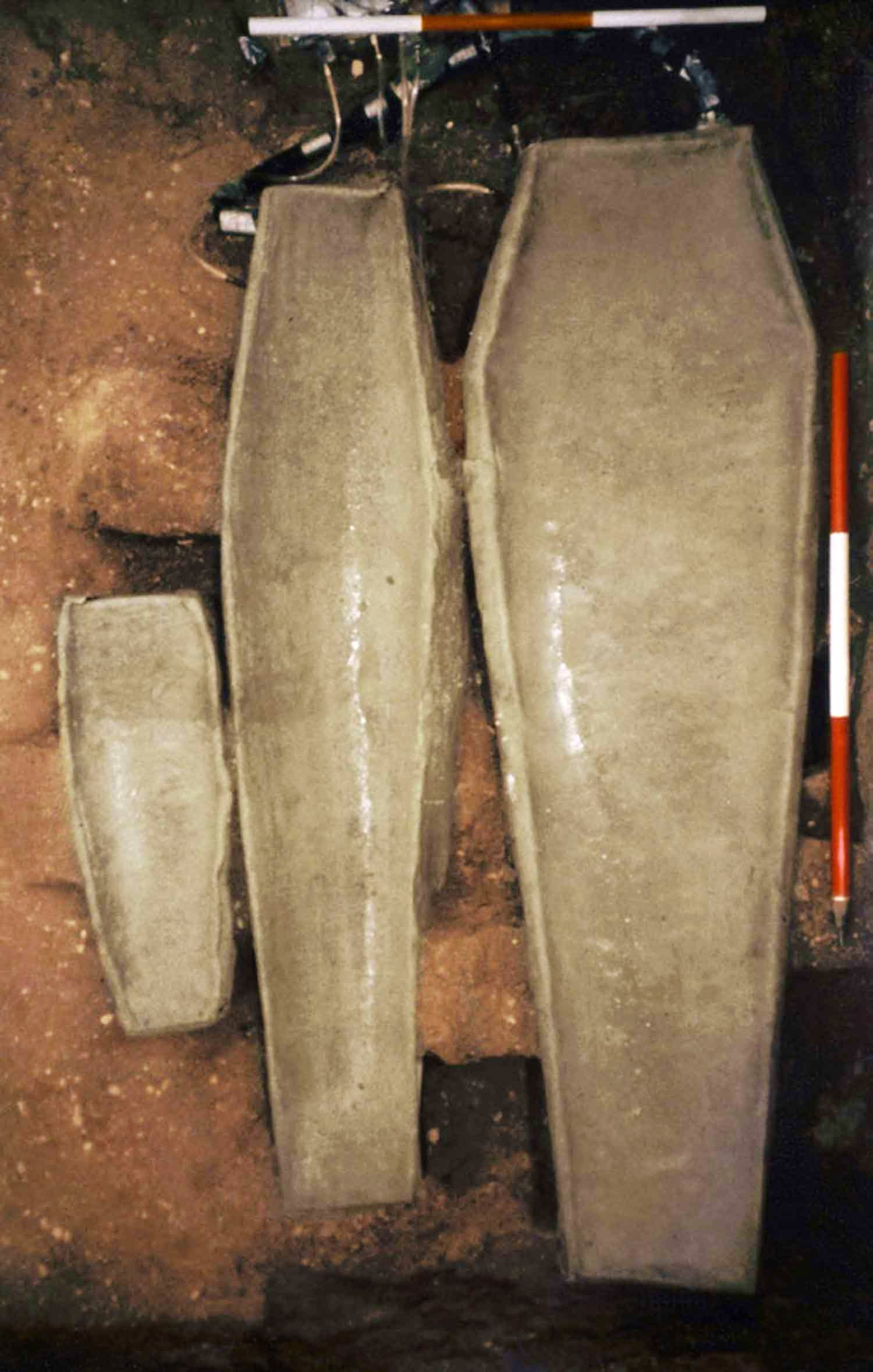 Three lead coffins discovered in the Brick Chapel