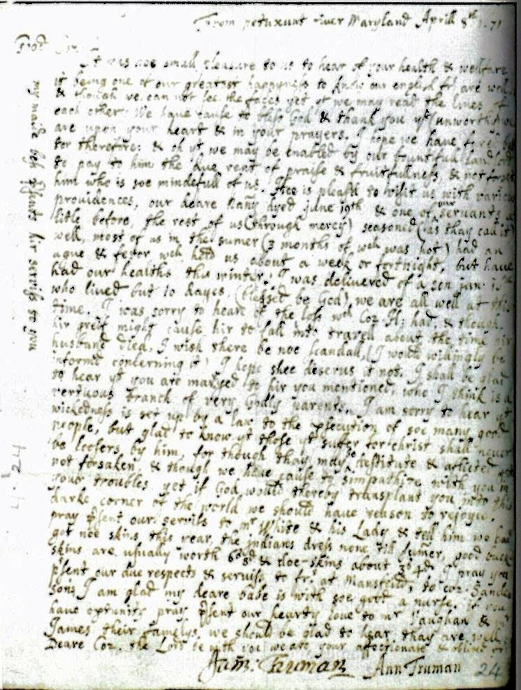 Clues to Early Maryland, #1 – A Rare Letter