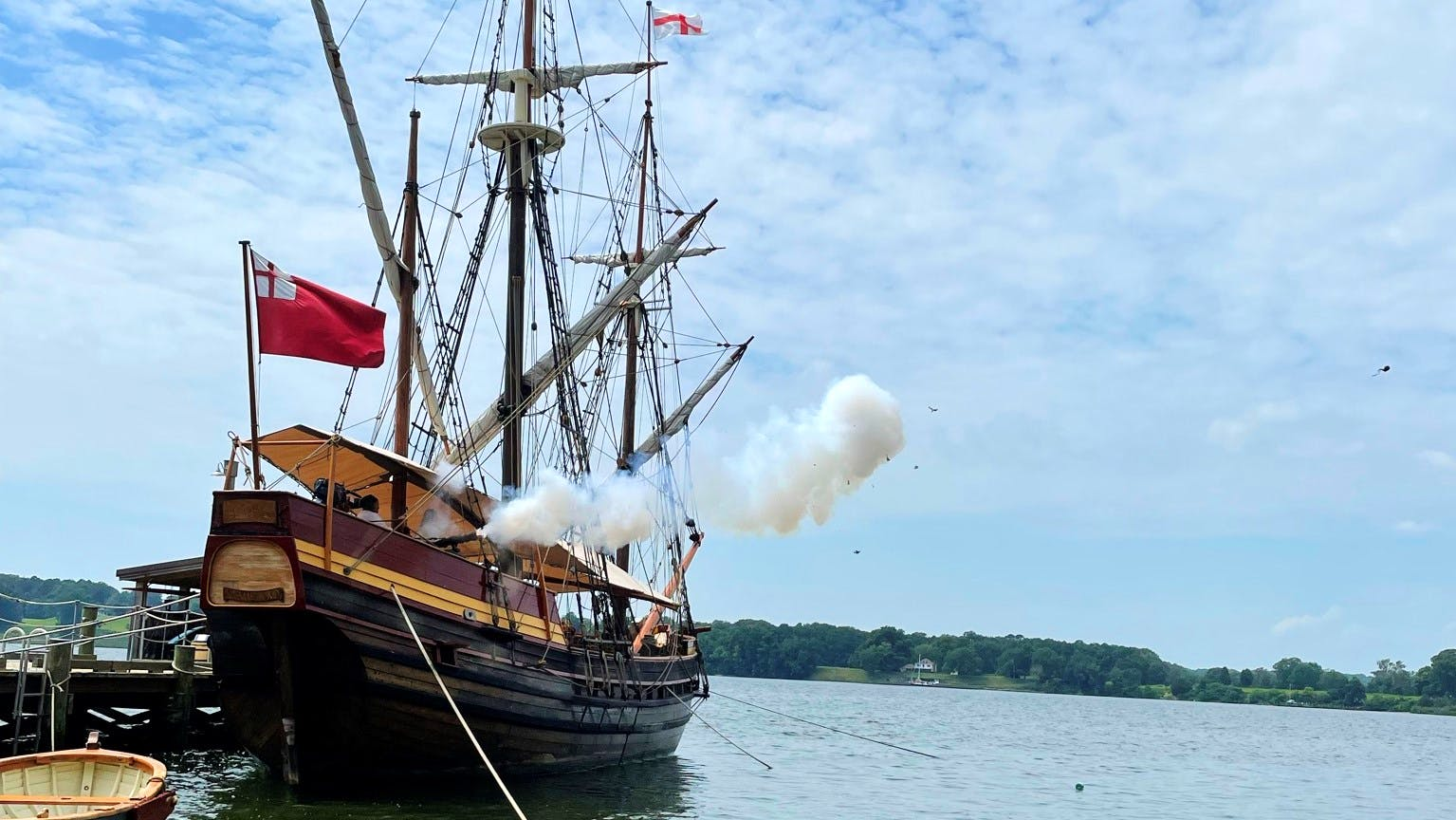 A cannon firing from Maryland Dove