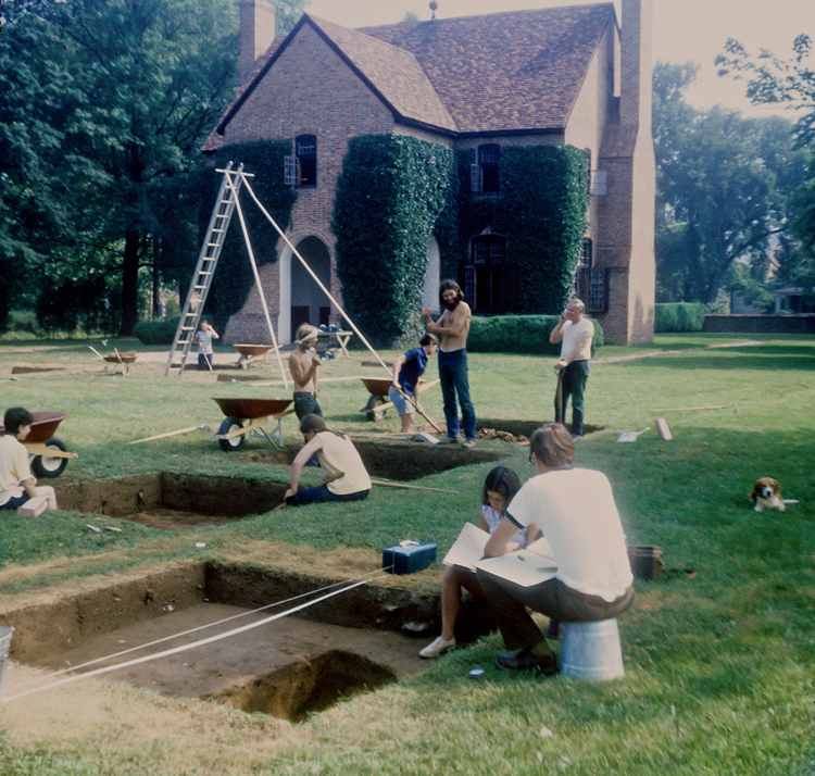1971 Field School in Historical Archaeology digging in front of the Reconstructed State House