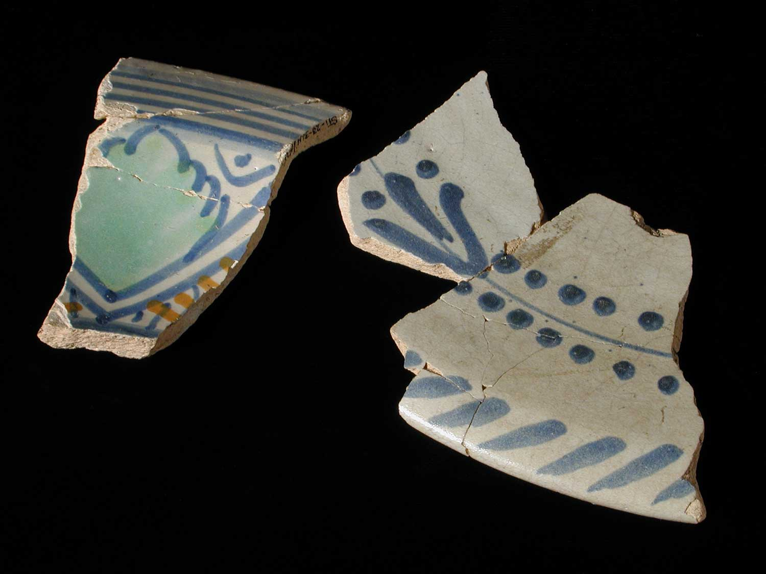Tin-glazed earthenware sherds from the St. John's site