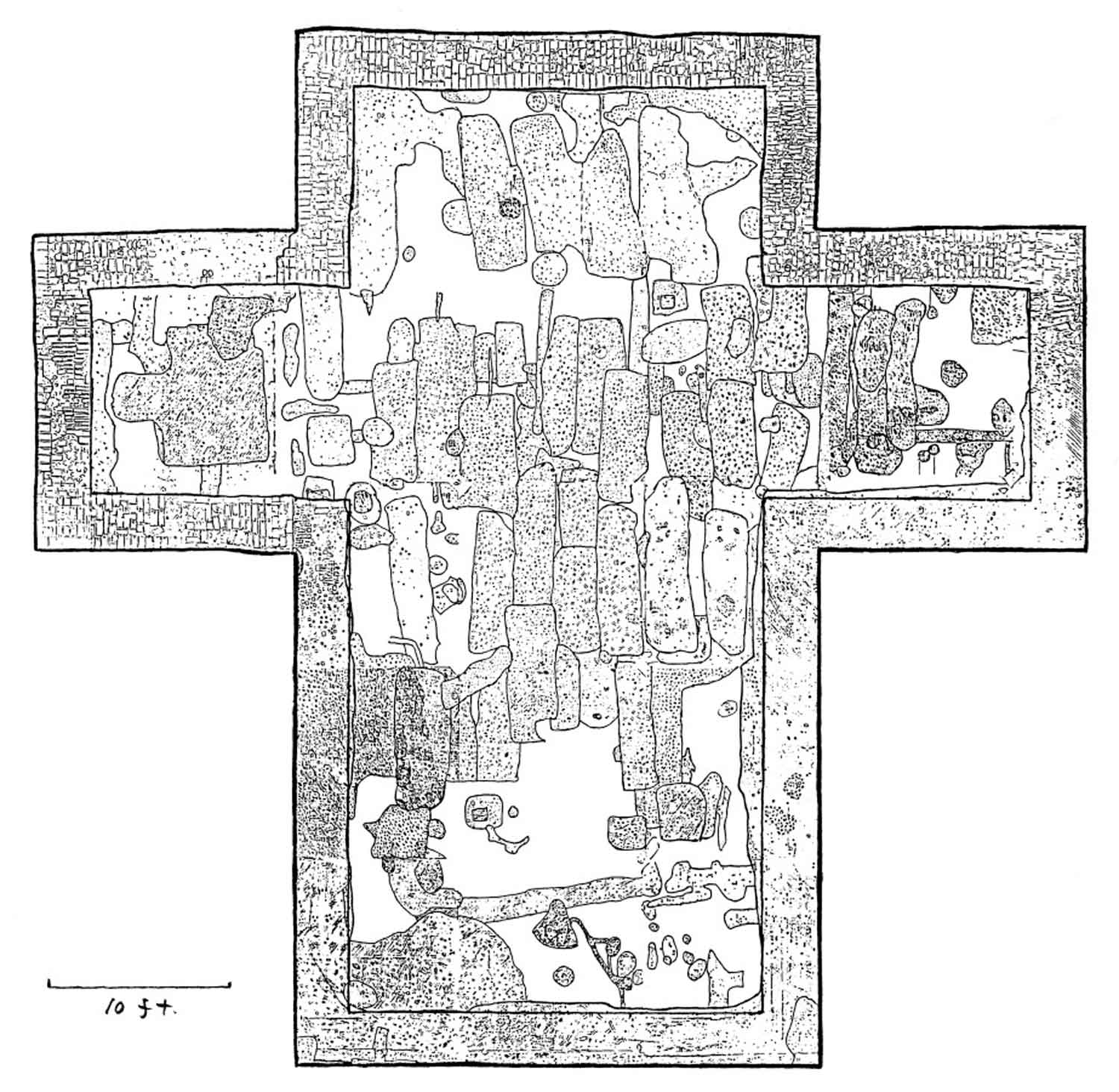 Plan view drawing of the Brick Chapel showing the burial shafts of some of Maryland's founders