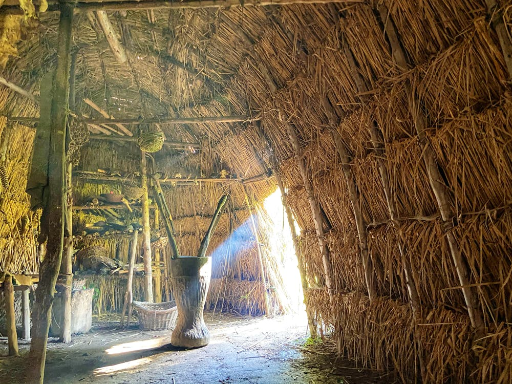 Inside a witchott at the Woodland Indian Hamlet